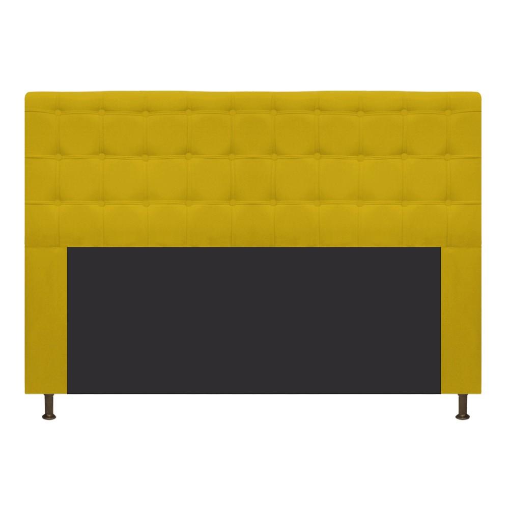 Cabeceira Estofada Dama 195 cm King Size Com Botonê Suede Amarelo - Doce Sonho Móveis