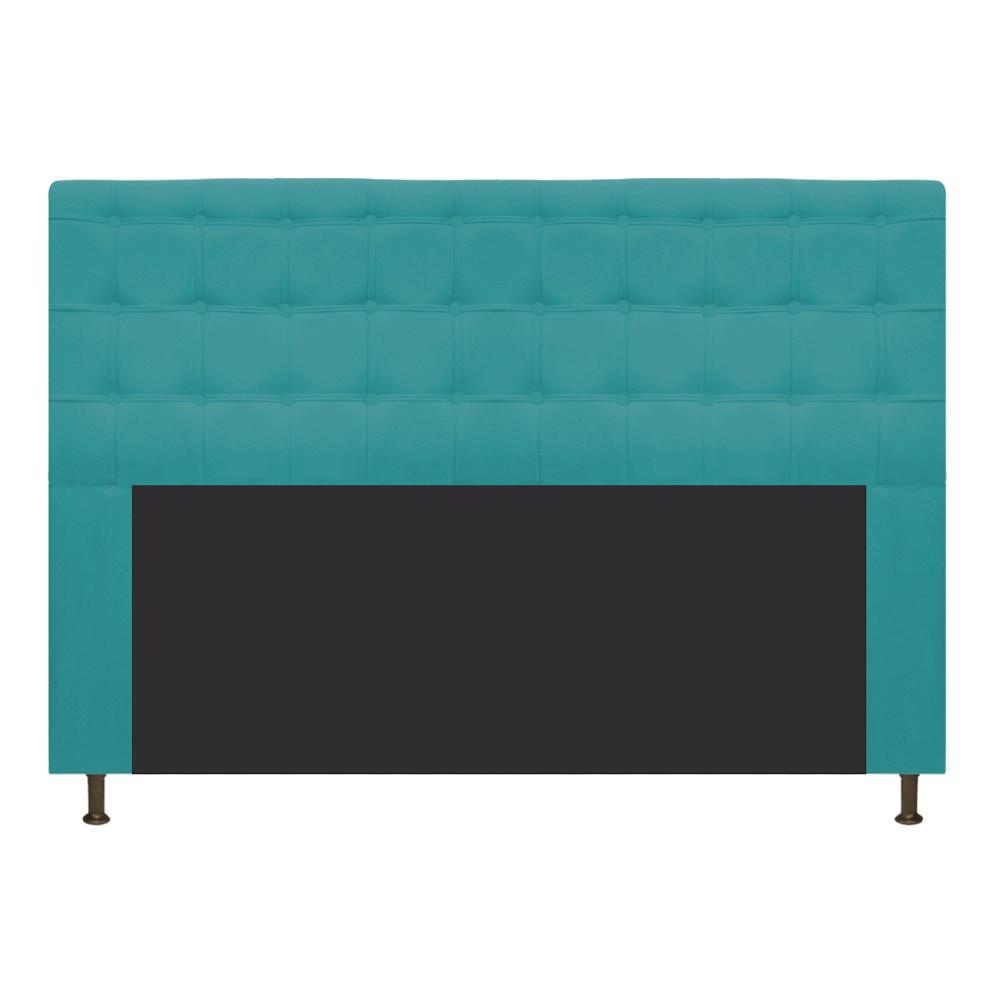 Cabeceira Estofada Dama 195 cm King Size Com Botonê Suede Azul Turquesa - Doce Sonho Móveis