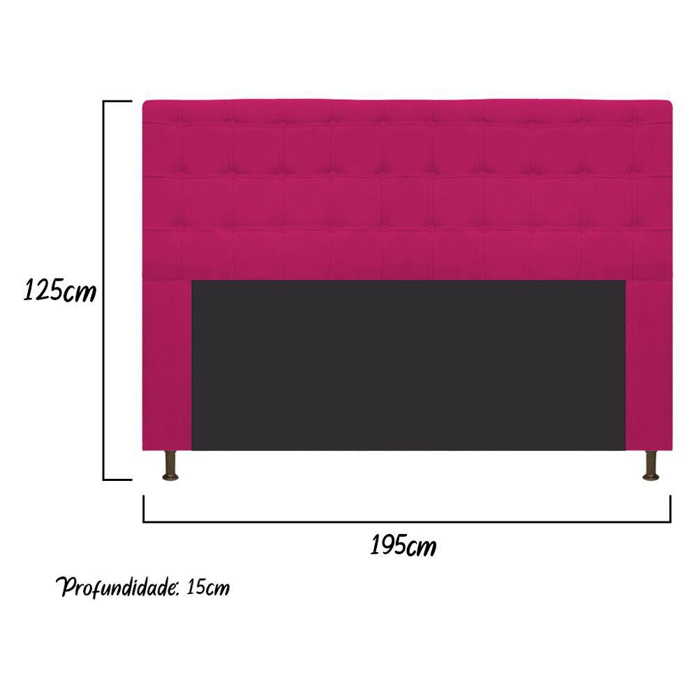 Cabeceira Estofada Dama 195 cm King Size Com Botonê Suede Pink - Doce Sonho Móveis