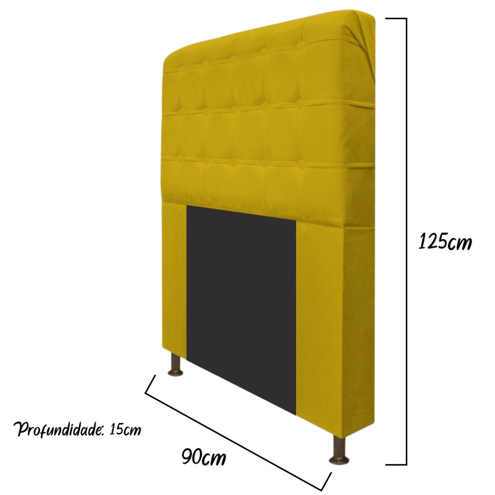 Cabeceira Estofada Dama 90 cm Solteiro Com Botonê  Suede Amarelo - Doce Sonho Móveis