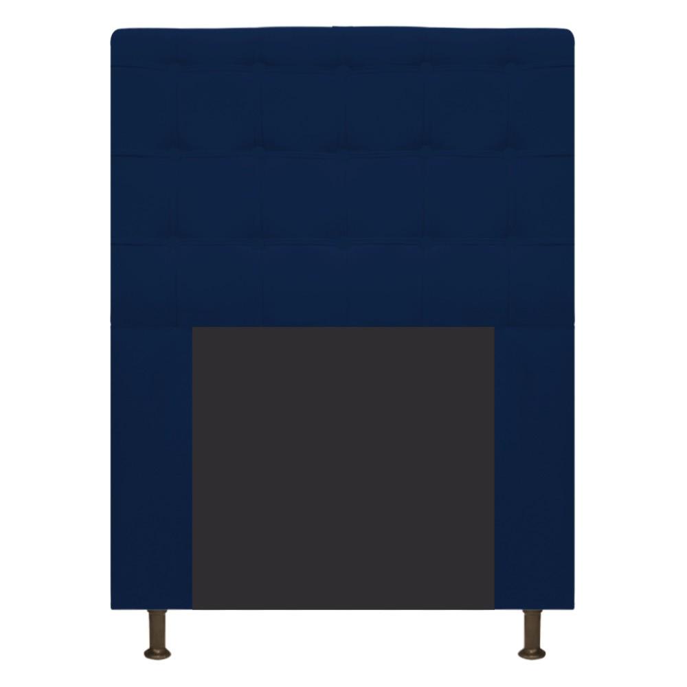 Cabeceira Estofada Dama 90 cm Solteiro Com Botonê  Suede Azul Marinho - Doce Sonho Móveis