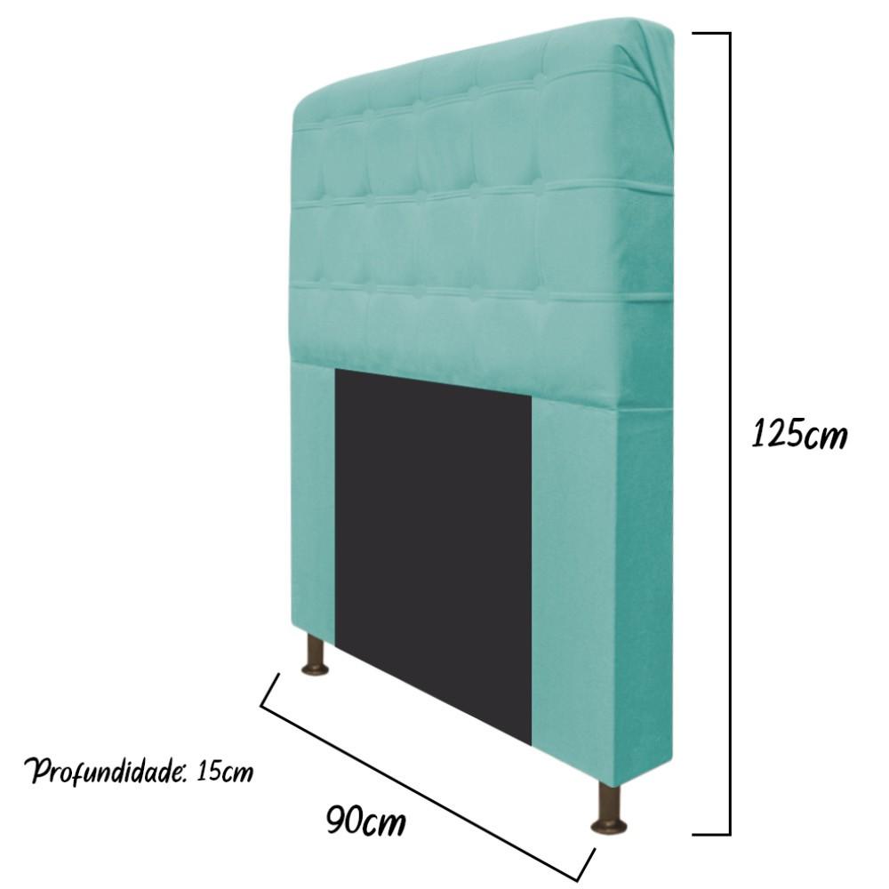 Cabeceira Estofada Dama 90 cm Solteiro Com Botonê  Suede Azul Tiffany - Doce Sonho Móveis