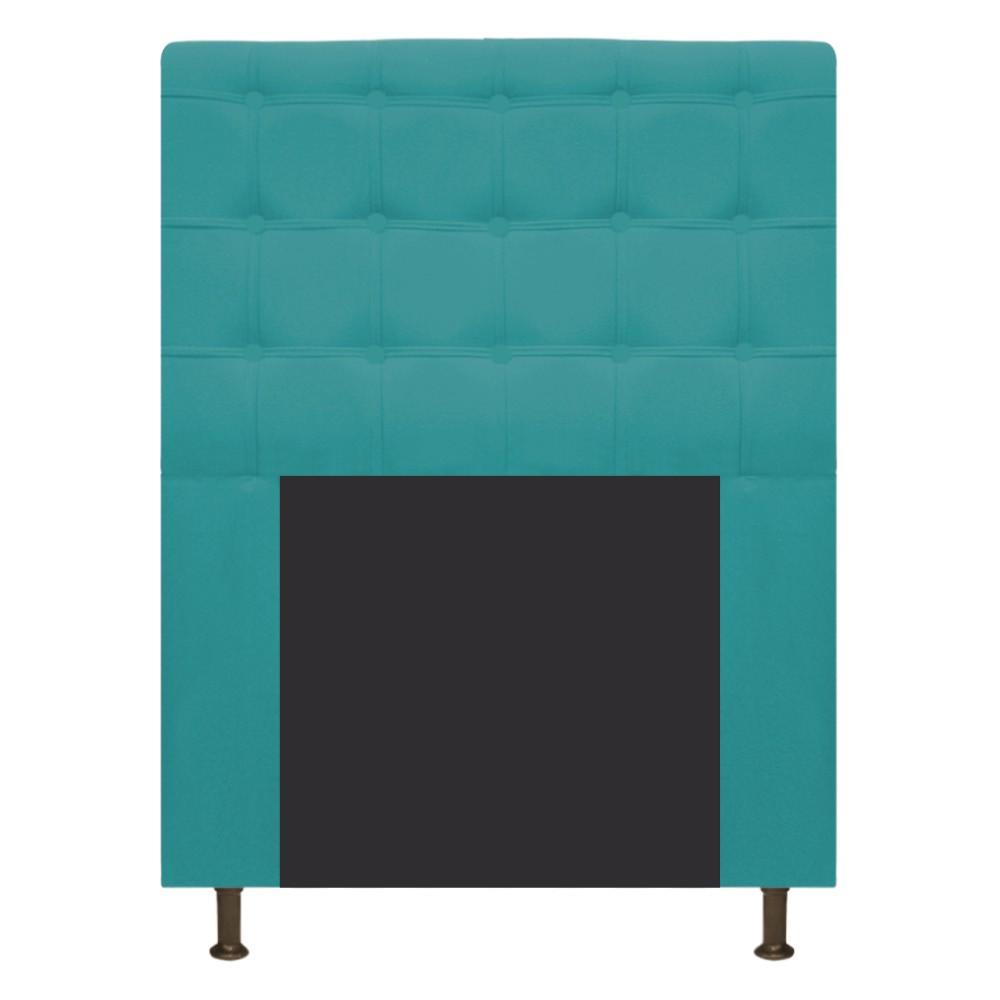 Cabeceira Estofada Dama 90 cm Solteiro Com Botonê  Suede Azul Turquesa - Doce Sonho Móveis