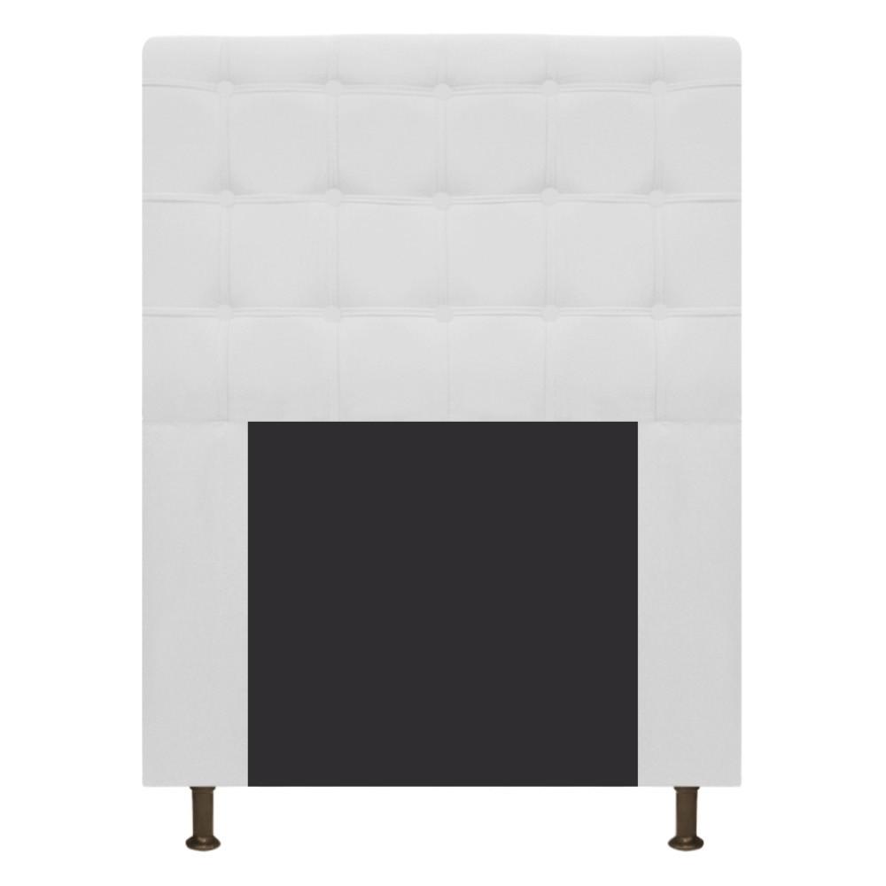 Cabeceira Estofada Dama 90 cm Solteiro Com Botonê  Suede Branco - Doce Sonho Móveis