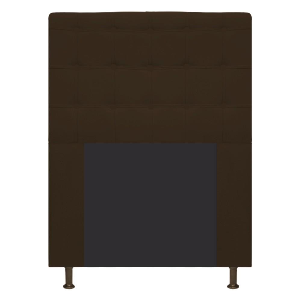 Cabeceira Estofada Dama 90 cm Solteiro Com Botonê  Suede Marrom - Doce Sonho Móveis