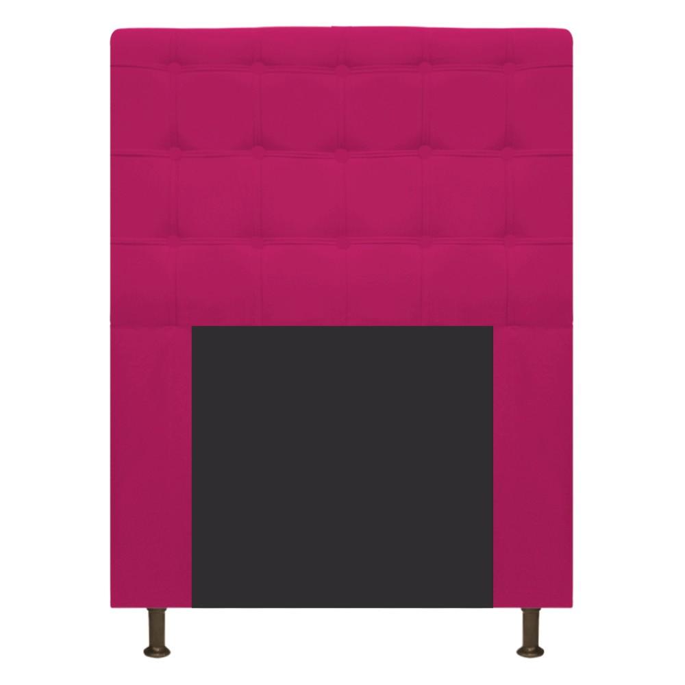 Cabeceira Estofada Dama 90 cm Solteiro Com Botonê  Suede Pink - Doce Sonho Móveis