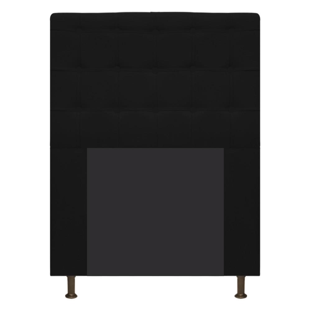 Cabeceira Estofada Dama 90 cm Solteiro Com Botonê  Suede Preto - Doce Sonho Móveis