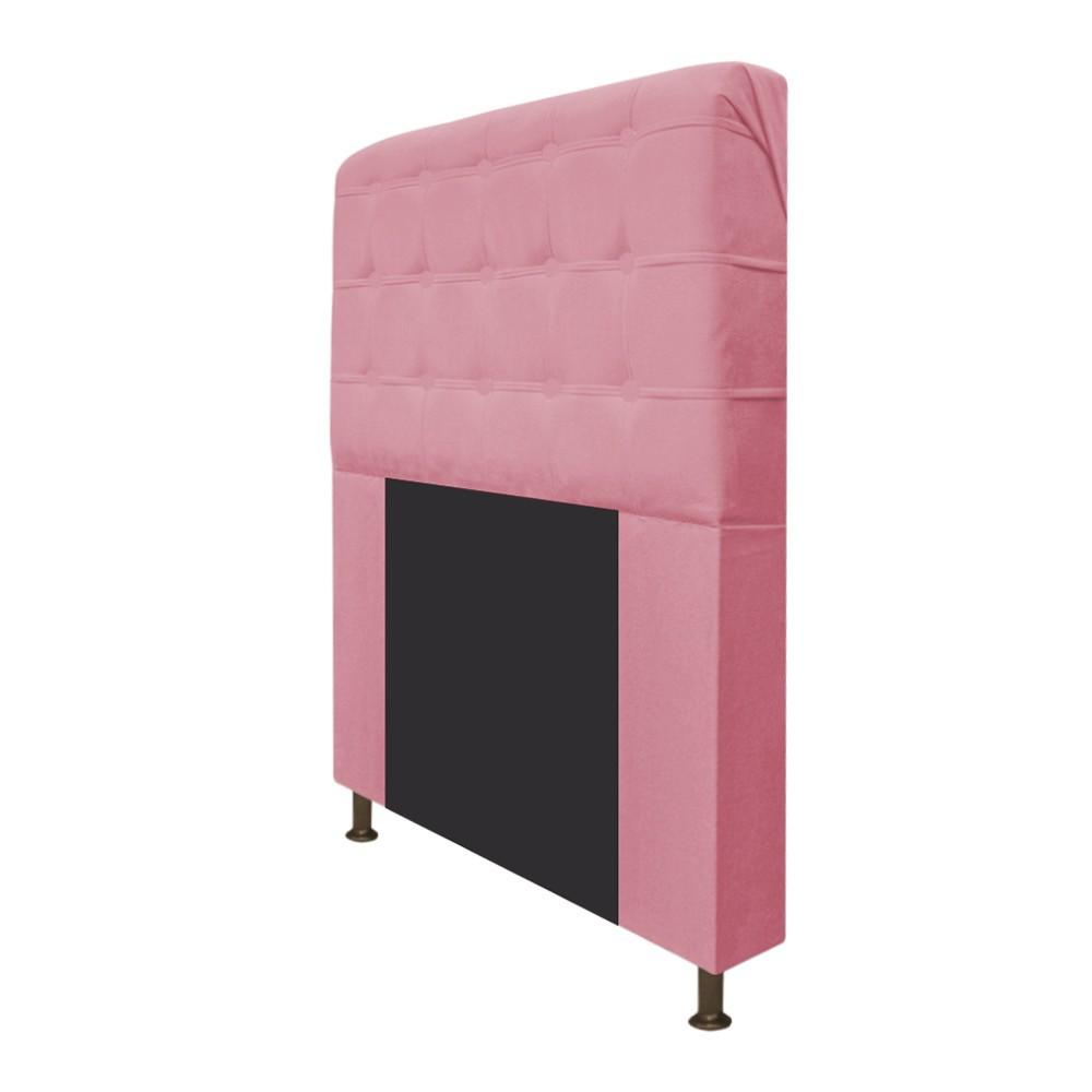 Cabeceira Estofada Dama 90 cm Solteiro Com Botonê  Suede Rosa Bebê - Doce Sonho Móveis