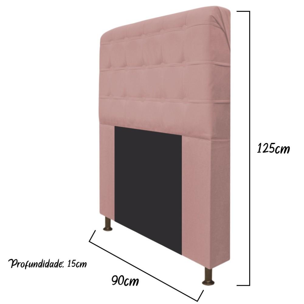 Cabeceira Estofada Dama 90 cm Solteiro Com Botonê  Suede Rosê - Doce Sonho Móveis