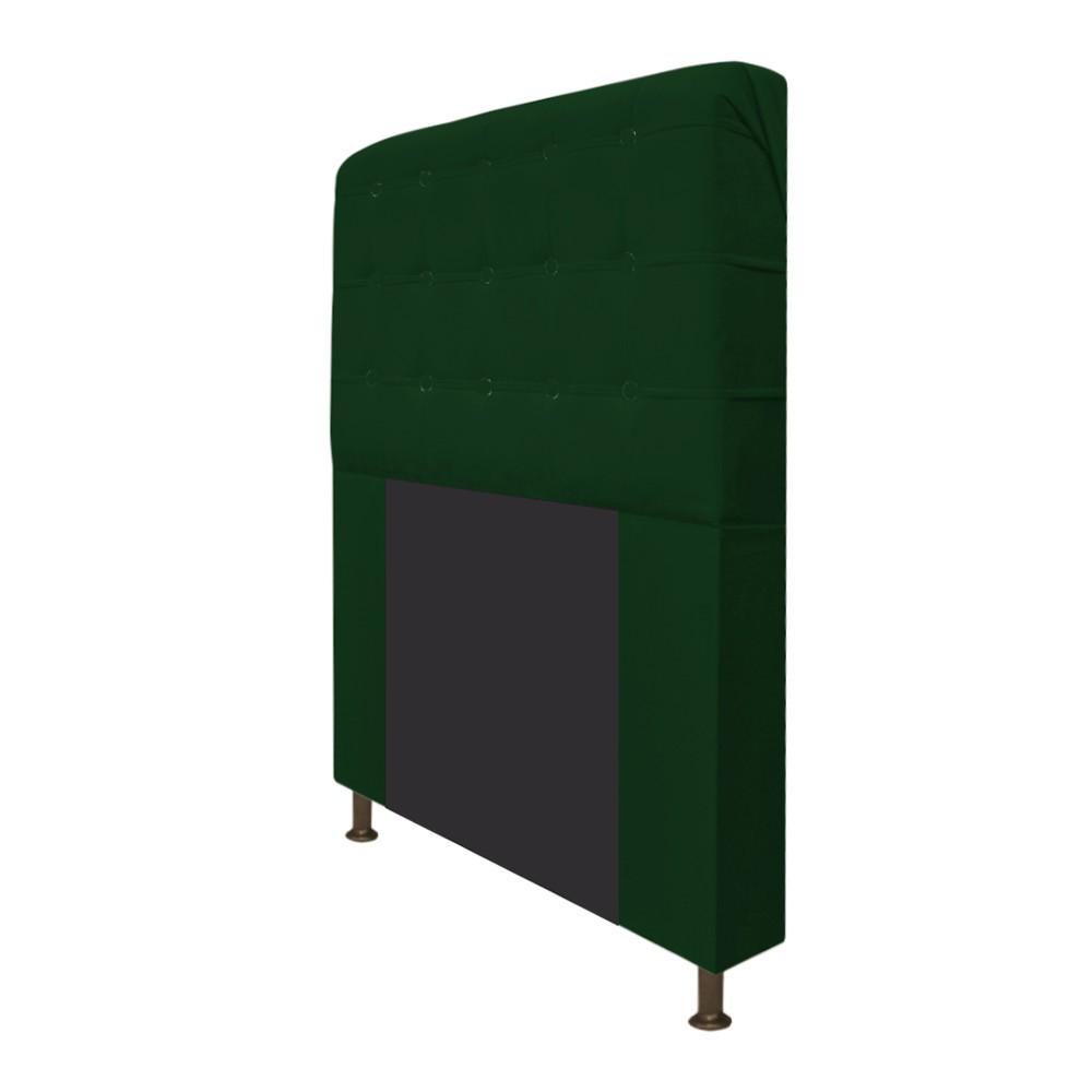 Cabeceira Estofada Dama 90 cm Solteiro Com Botonê  Suede Verde - Doce Sonho Móveis