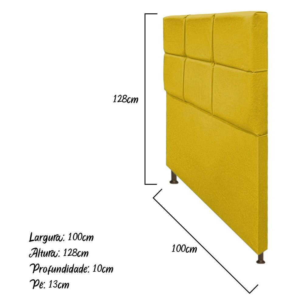Cabeceira Estofada Damares 100 cm Solteiro Com Botonê Suede Amarelo - Doce Sonho Móveis