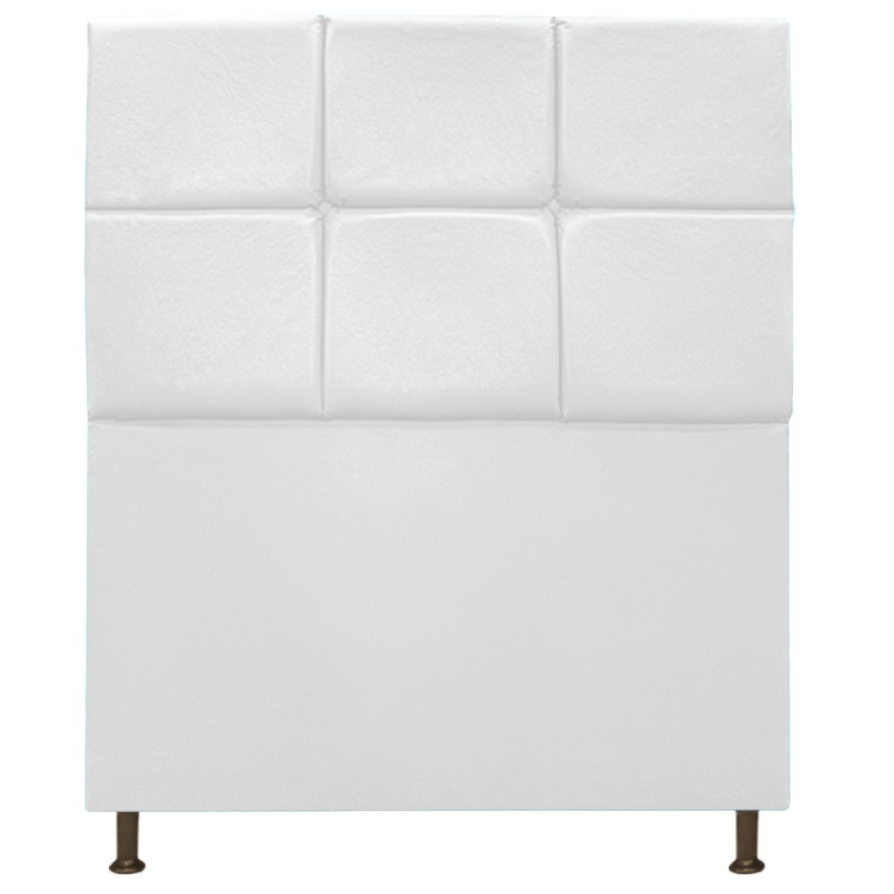 Cabeceira Estofada Damares 100 cm Solteiro Com Botonê Suede Branco - Doce Sonho Móveis
