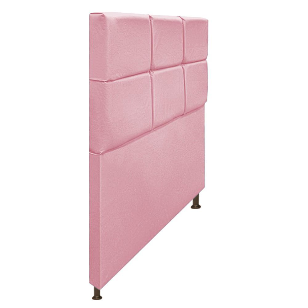 Cabeceira Estofada Damares 100 cm Solteiro Com Botonê Suede Rosa Bebê - Doce Sonho Móveis