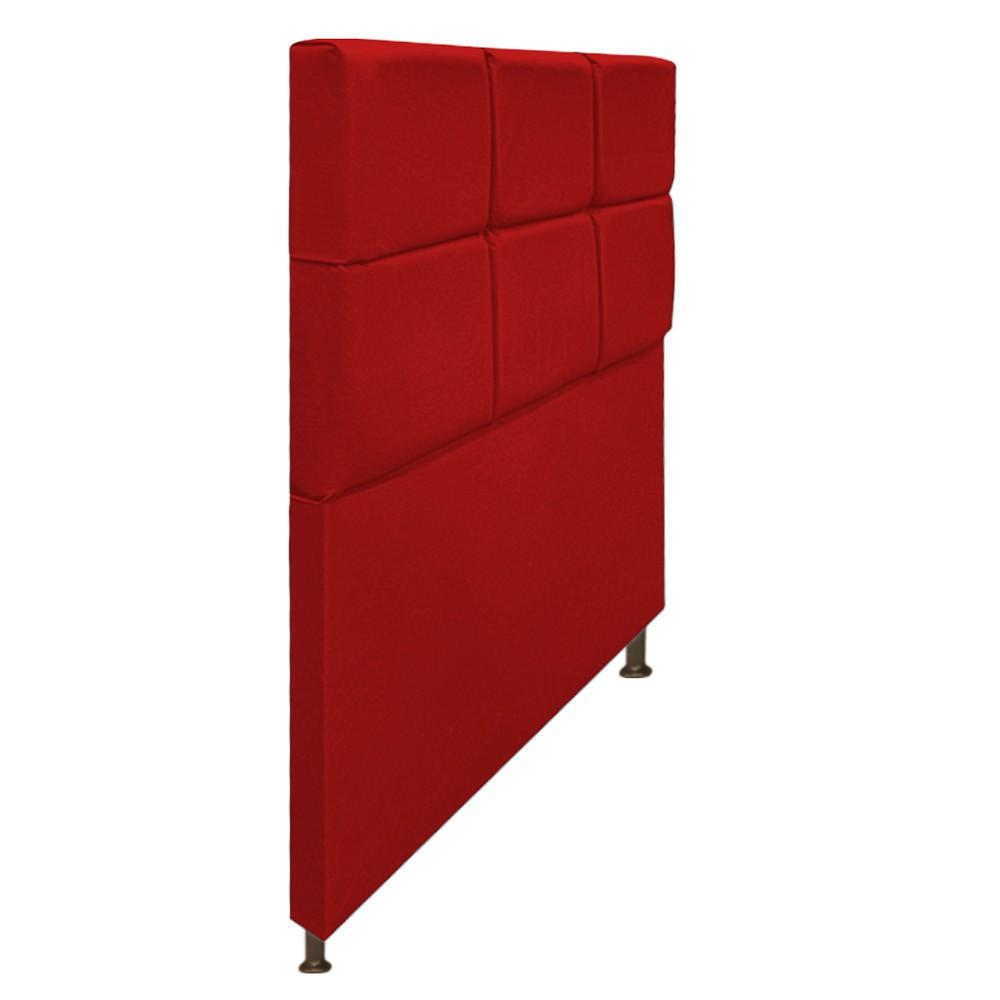 Cabeceira Estofada Damares 100 cm Solteiro Com Botonê Suede Vermelho - Doce Sonho Móveis