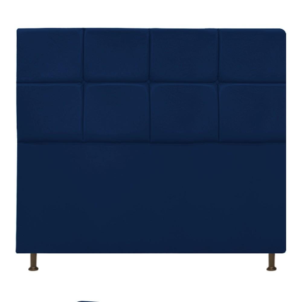 Cabeceira Estofada Damares 140 cm Casal Com Botonê  Suede Azul Marinho - Doce Sonho Móveis