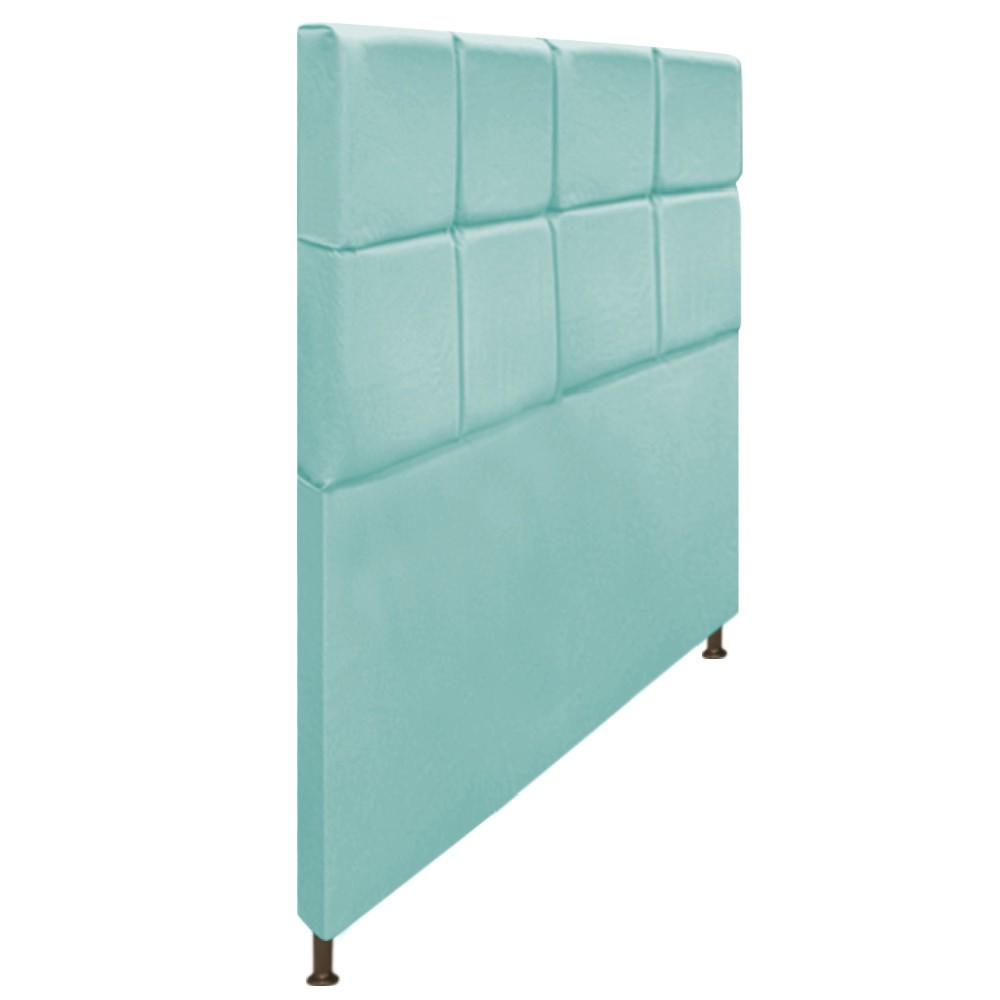 Cabeceira Estofada Damares 140 cm Casal Com Botonê  Suede Azul Tiffany - Doce Sonho Móveis