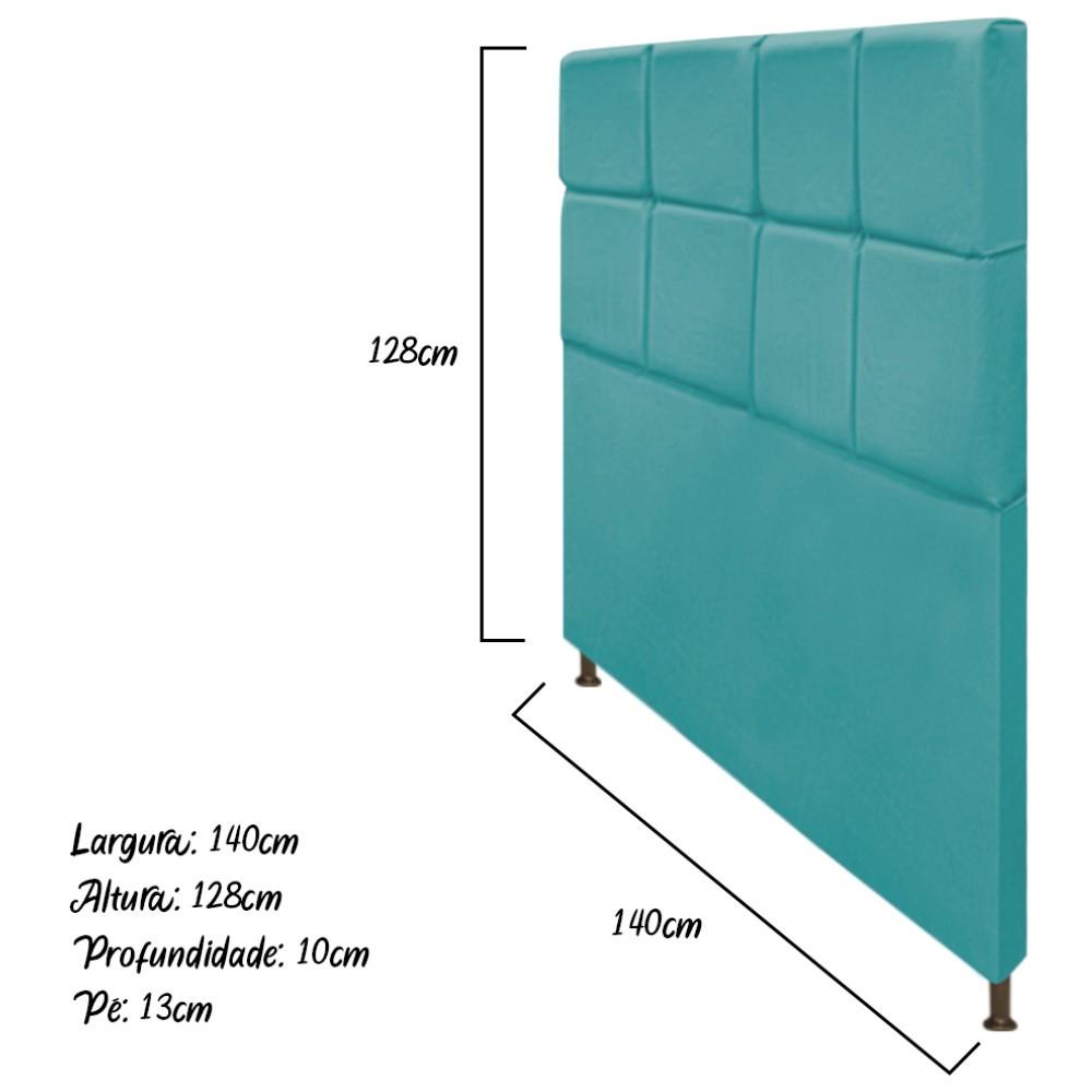 Cabeceira Estofada Damares 140 cm Casal Com Botonê  Suede Azul Turquesa - Doce Sonho Móveis