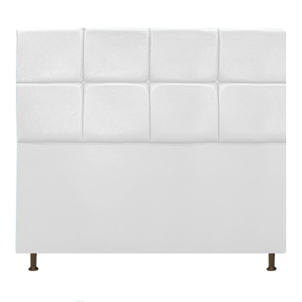 Cabeceira Estofada Damares 140 cm Casal Com Botonê  Suede Branco - Doce Sonho Móveis