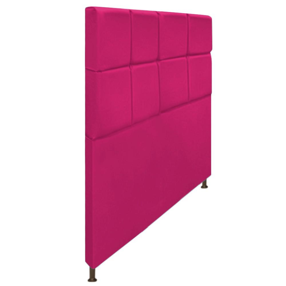 Cabeceira Estofada Damares 140 cm Casal Com Botonê  Suede Pink - Doce Sonho Móveis