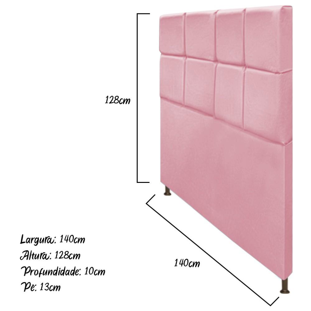 Cabeceira Estofada Damares 140 cm Casal Com Botonê  Suede Rosa Bebê - Doce Sonho Móveis