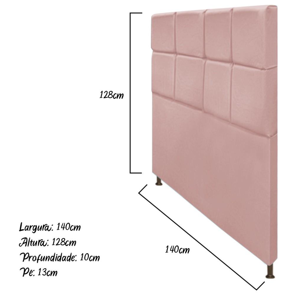 Cabeceira Estofada Damares 140 cm Casal Com Botonê  Suede Rosê - Doce Sonho Móveis