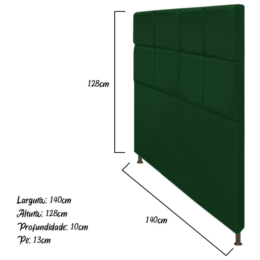 Cabeceira Estofada Damares 140 cm Casal Com Botonê  Suede Verde - Doce Sonho Móveis