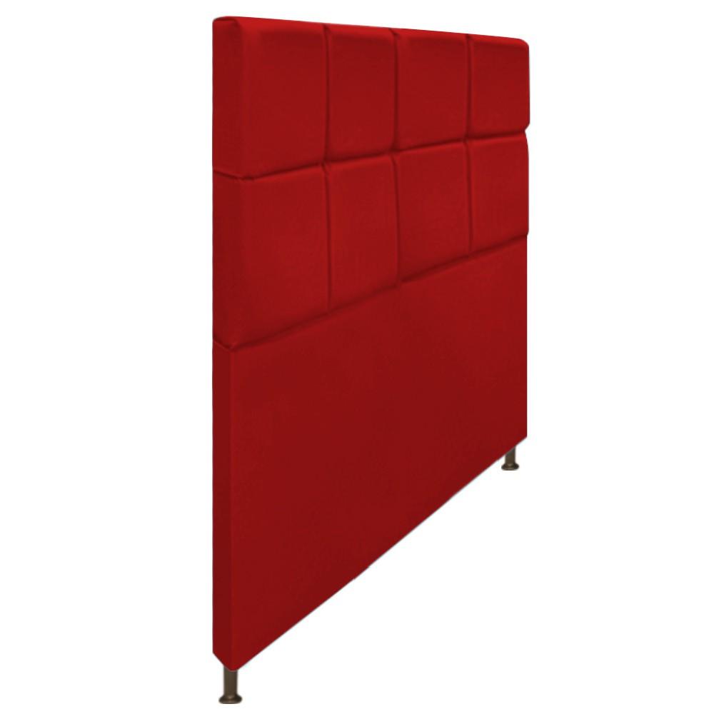 Cabeceira Estofada Damares 140 cm Casal Com Botonê  Suede Vermelho - Doce Sonho Móveis
