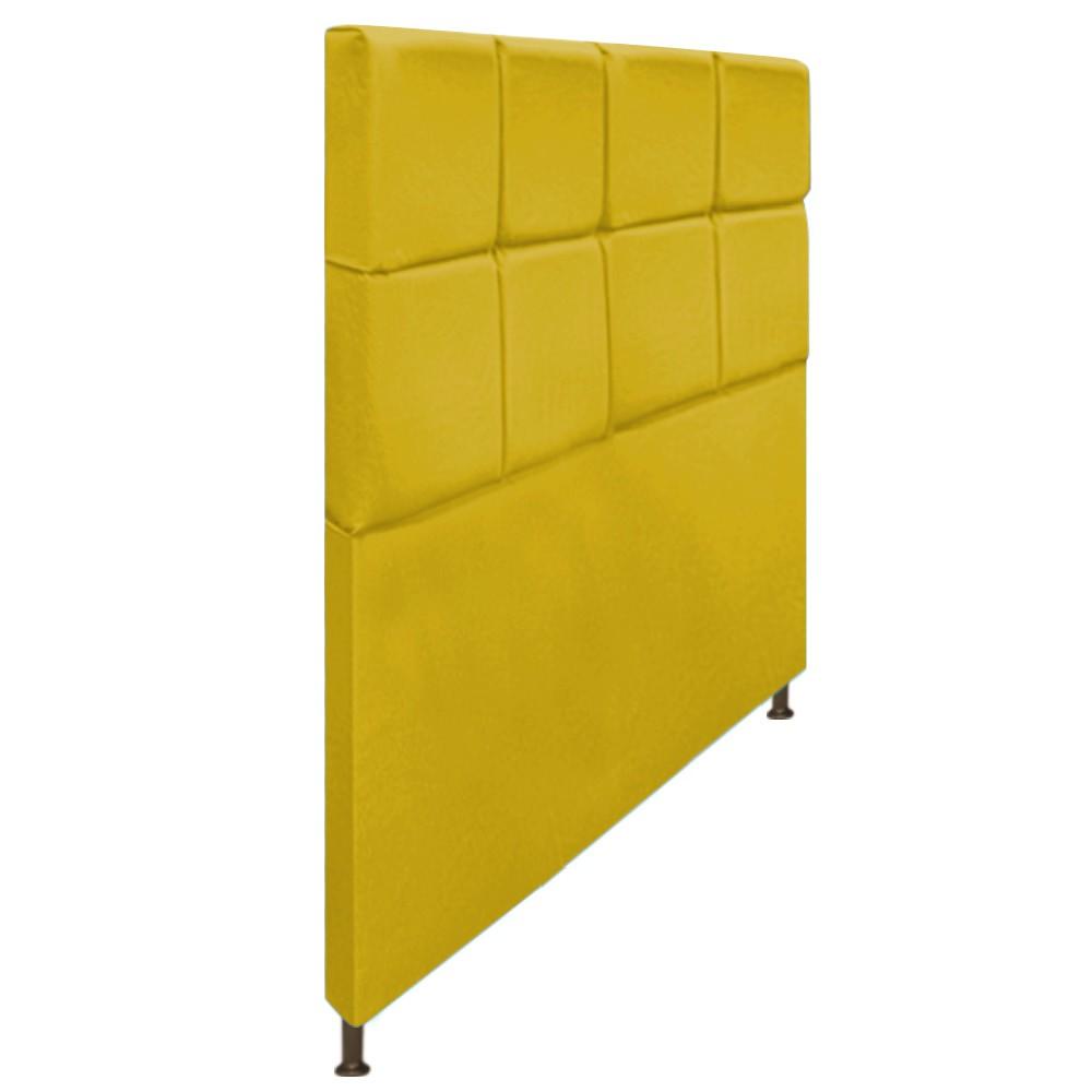 Cabeceira Estofada Damares 160 cm Queen Size Com Botonê Suede Amarelo - Doce Sonho Móveis