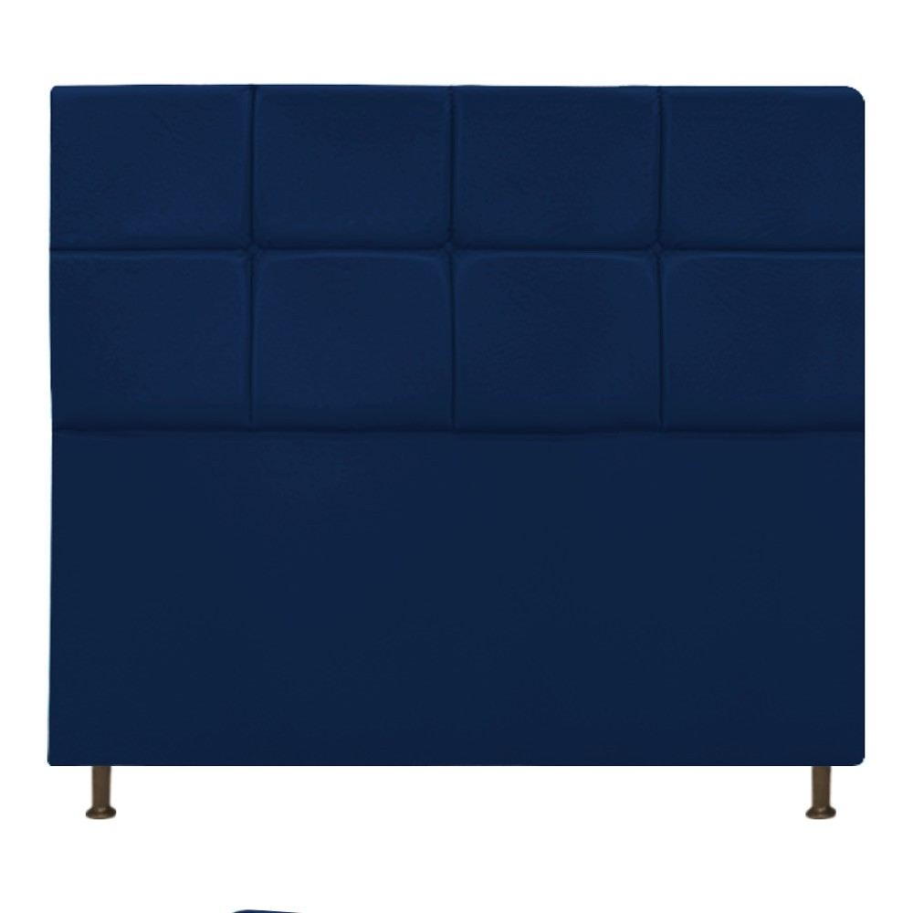 Cabeceira Estofada Damares 160 cm Queen Size Com Botonê Suede Azul Marinho - Doce Sonho Móveis