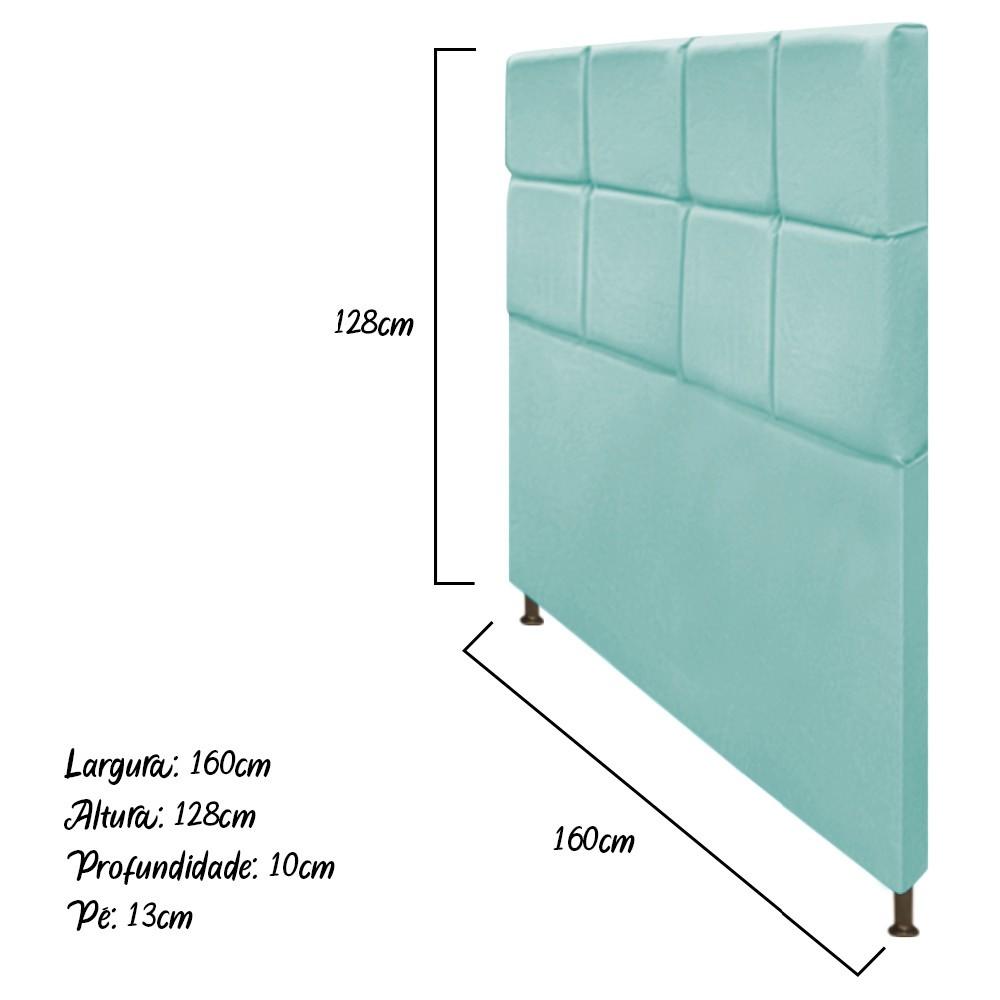 Cabeceira Estofada Damares 160 cm Queen Size Com Botonê Suede Azul Tiffany - Doce Sonho Móveis