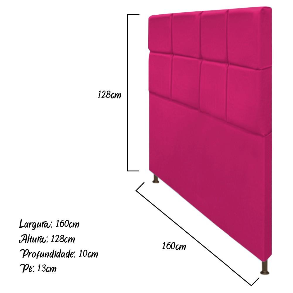 Cabeceira Estofada Damares 160 cm Queen Size Com Botonê Suede Pink - Doce Sonho Móveis