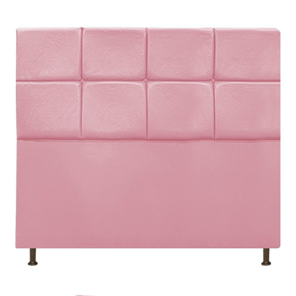 Cabeceira Estofada Damares 160 cm Queen Size Com Botonê Suede Rosa Bebê - Doce Sonho Móveis