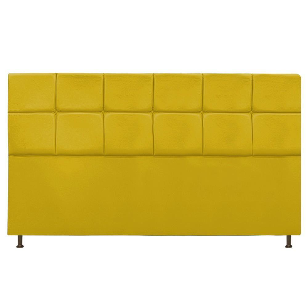 Cabeceira Estofada Damares 195 cm King Size Com Botonê Suede Amarelo - Doce Sonho Móveis