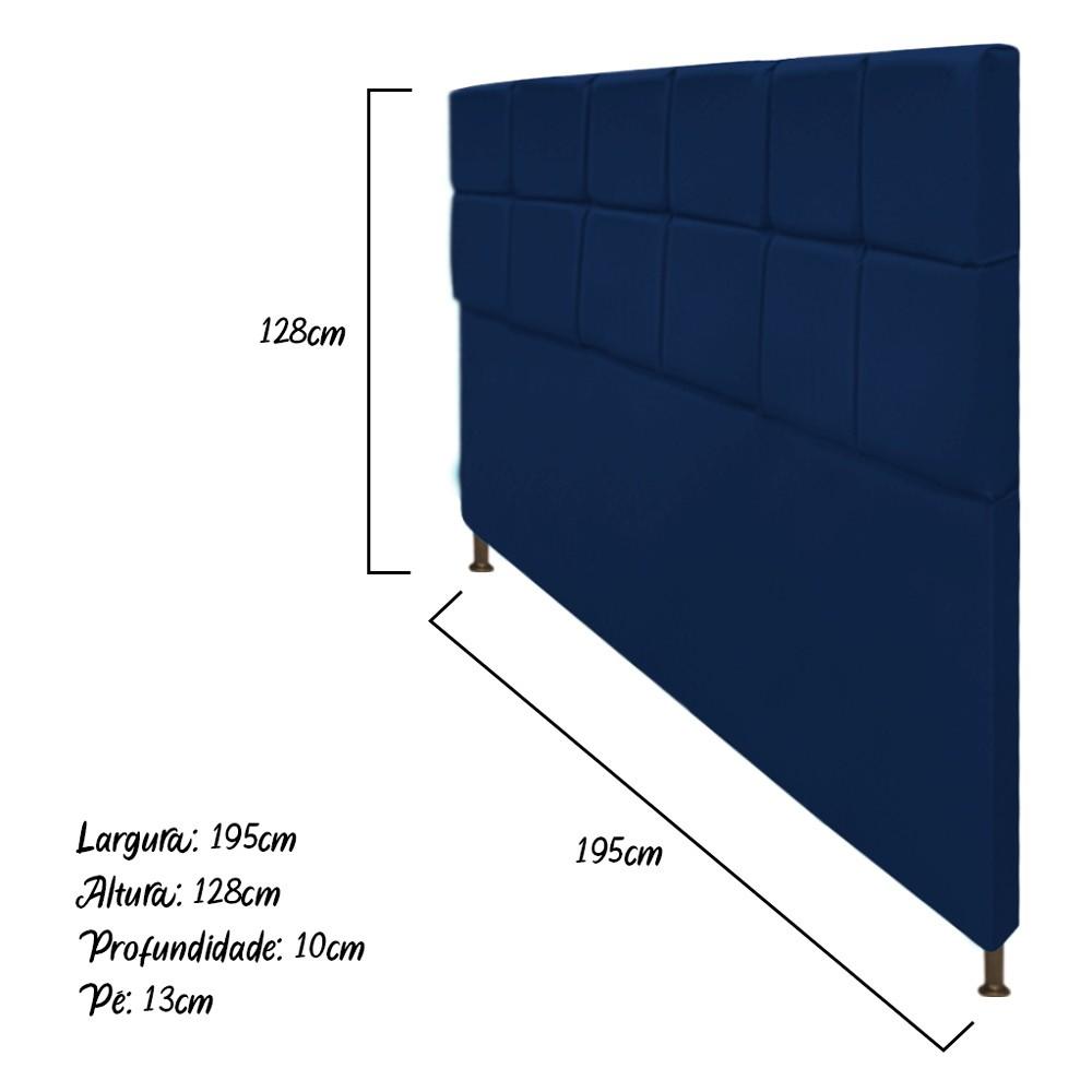 Cabeceira Estofada Damares 195 cm King Size Com Botonê Suede Azul Marinho - Doce Sonho Móveis