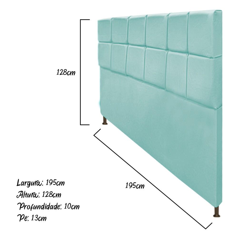 Cabeceira Estofada Damares 195 cm King Size Com Botonê Suede Azul Tiffany - Doce Sonho Móveis
