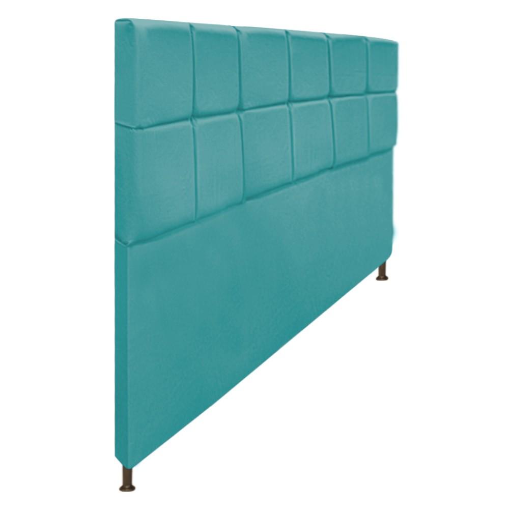 Cabeceira Estofada Damares 195 cm King Size Com Botonê Suede Azul Turquesa - Doce Sonho Móveis