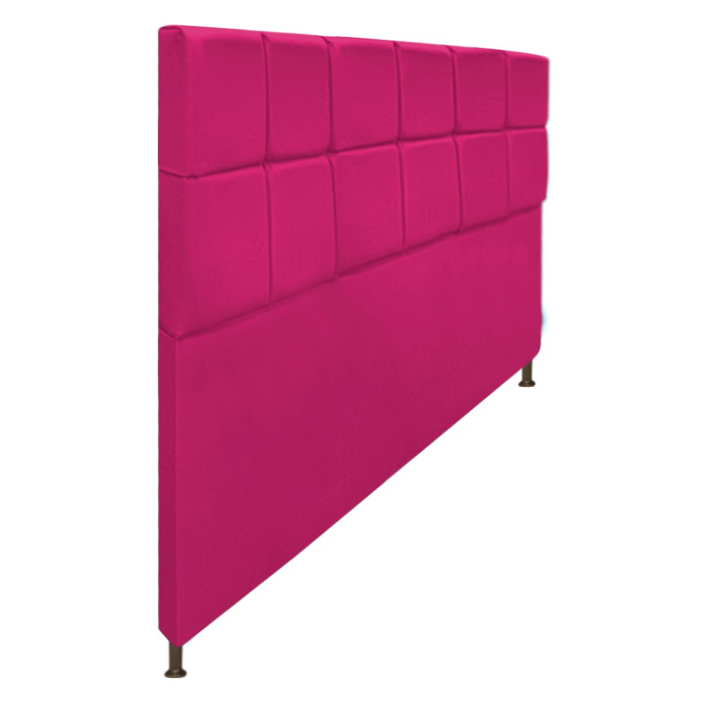 Cabeceira Estofada Damares 195 cm King Size Com Botonê Suede Pink - Doce Sonho Móveis