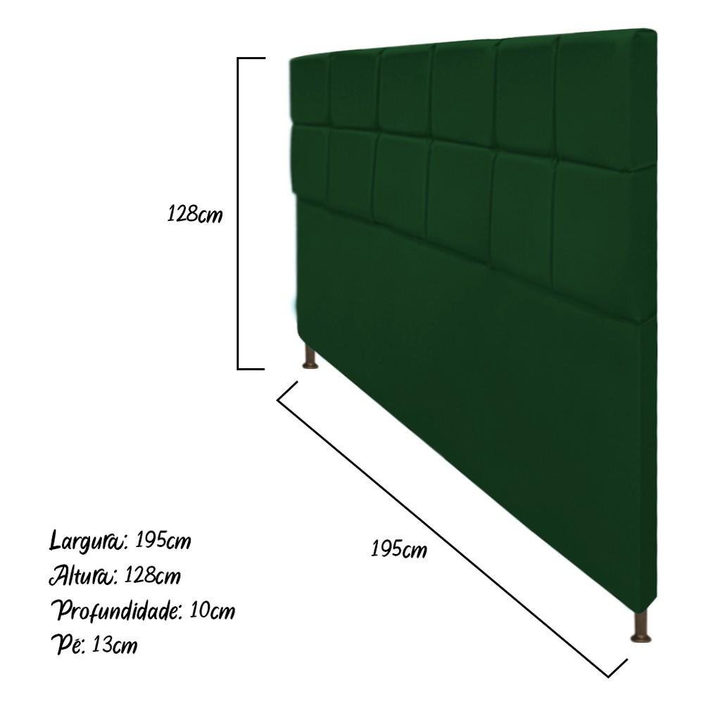 Cabeceira Estofada Damares 195 cm King Size Com Botonê Suede Verde - Doce Sonho Móveis