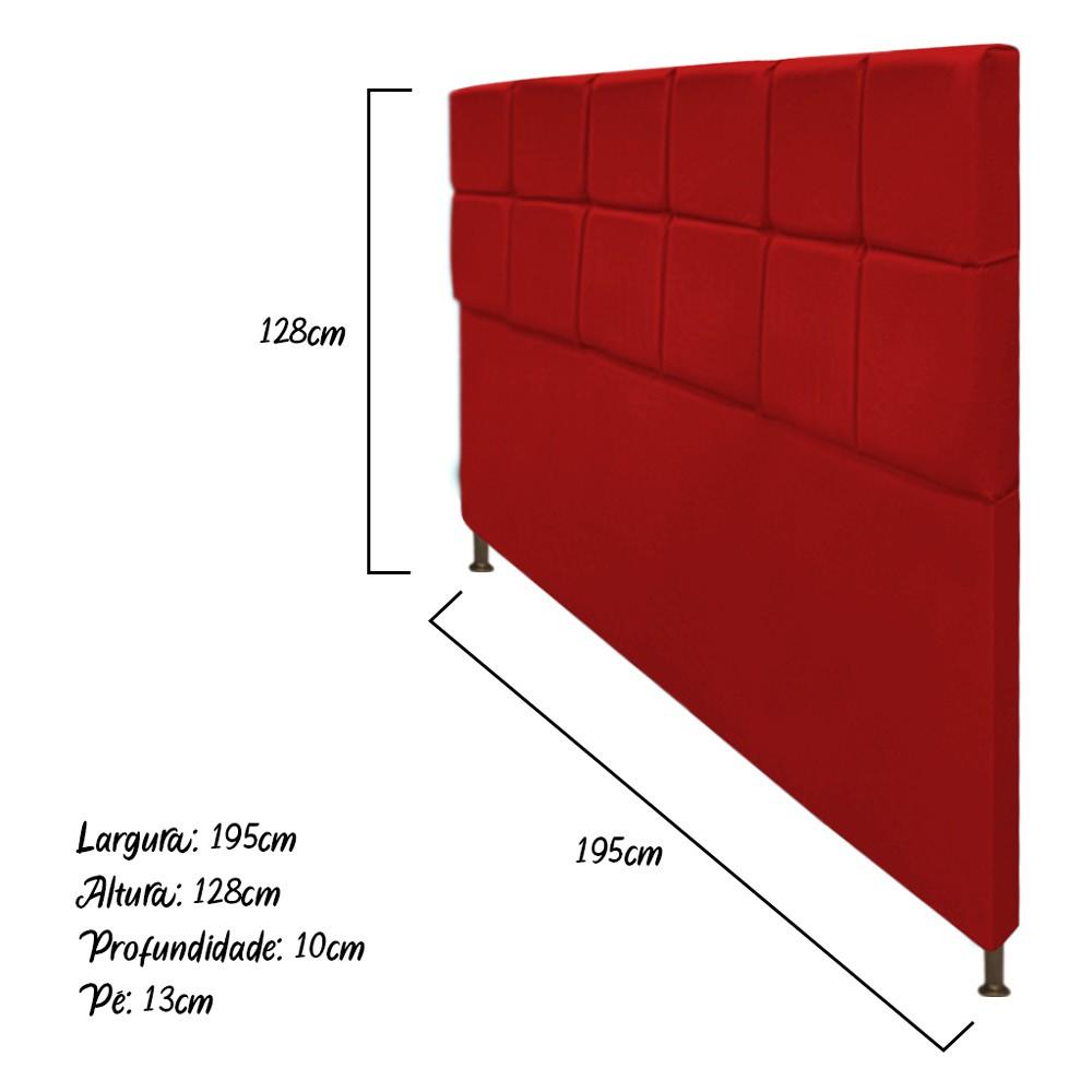 Cabeceira Estofada Damares 195 cm King Size Com Botonê Suede Vermelho - Doce Sonho Móveis