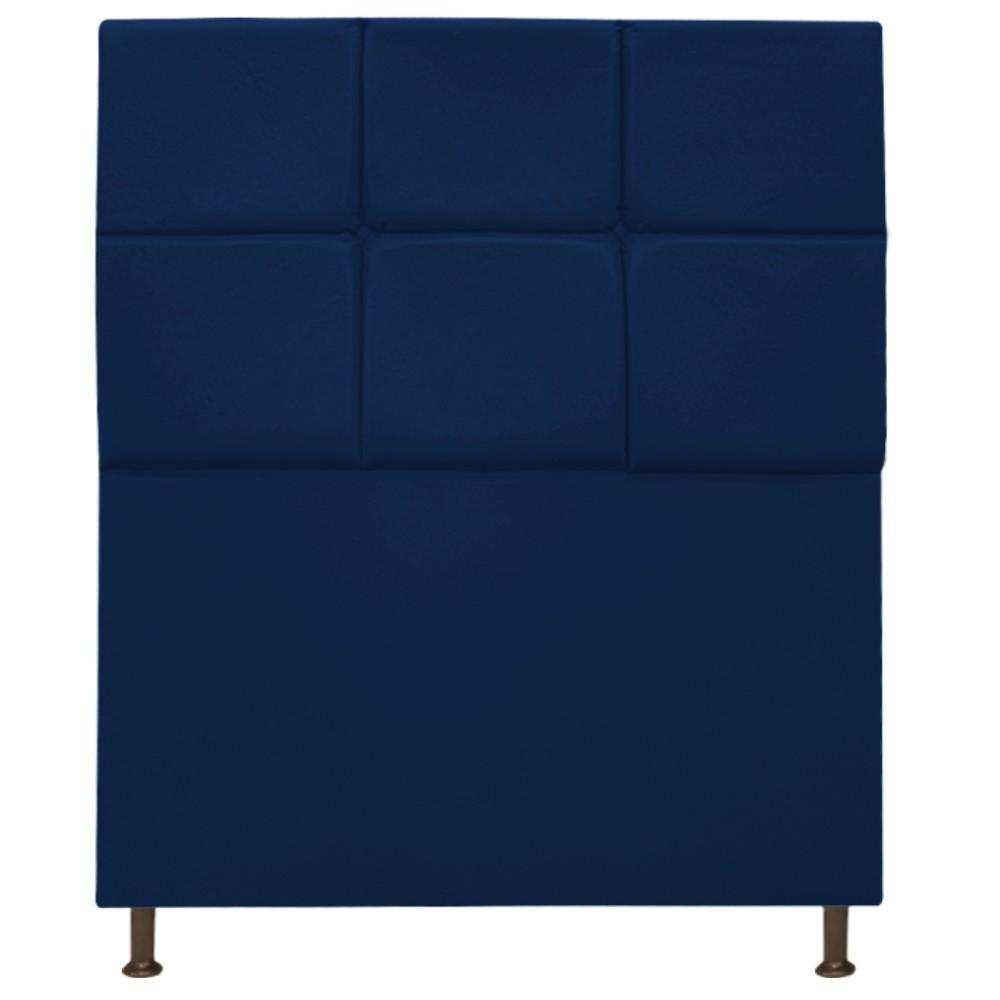 Cabeceira Estofada Damares 90 cm Solteiro Com Botonê  Suede Azul Marinho - Doce Sonho Móveis