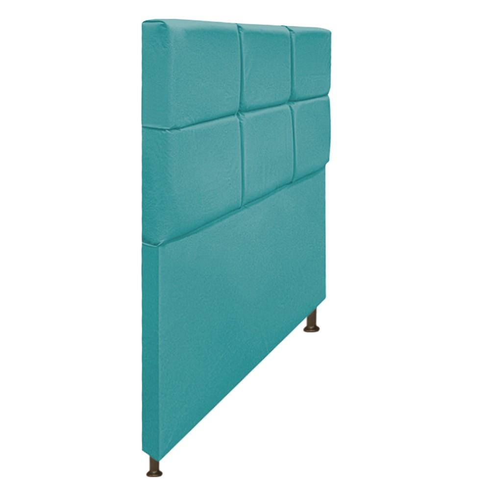 Cabeceira Estofada Damares 90 cm Solteiro Com Botonê  Suede Azul Turquesa - Doce Sonho Móveis