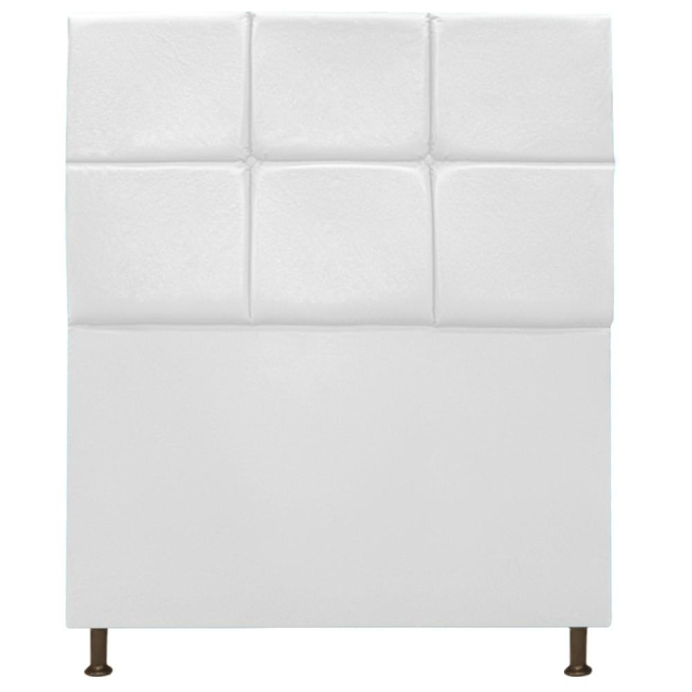 Cabeceira Estofada Damares 90 cm Solteiro Com Botonê  Suede Branco - Doce Sonho Móveis