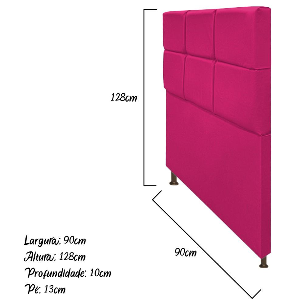 Cabeceira Estofada Damares 90 cm Solteiro Com Botonê  Suede Pink - Doce Sonho Móveis