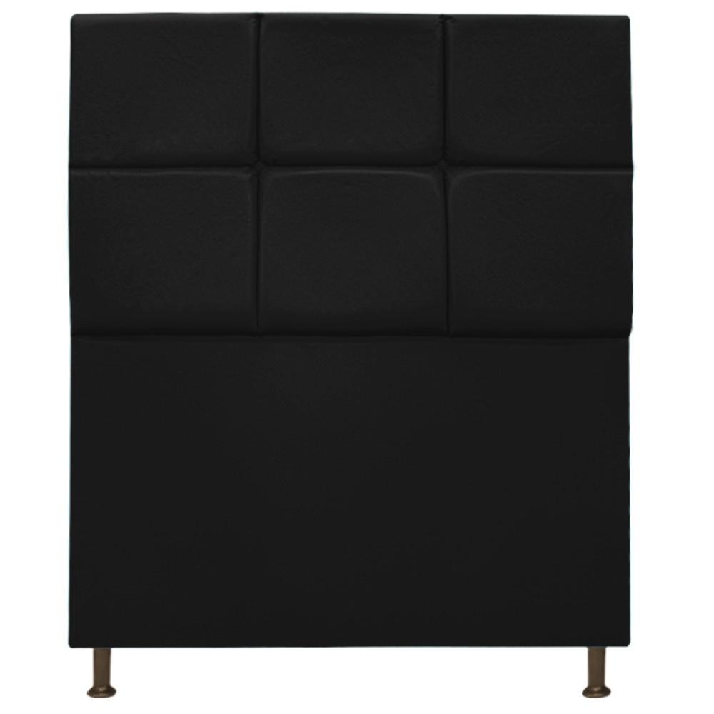 Cabeceira Estofada Damares 90 cm Solteiro Com Botonê  Suede Preto - Doce Sonho Móveis
