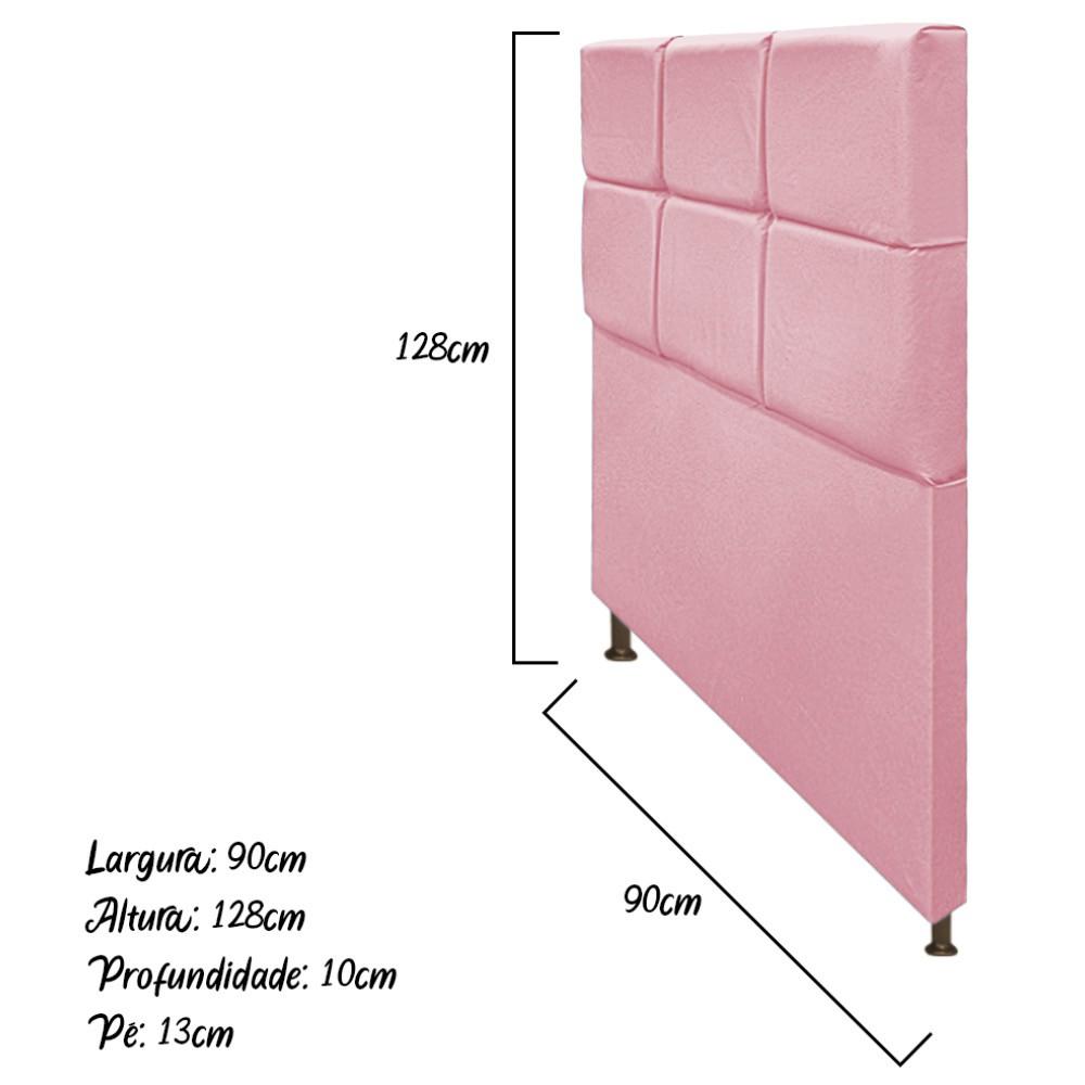 Cabeceira Estofada Damares 90 cm Solteiro Com Botonê  Suede Rosa Bebê - Doce Sonho Móveis