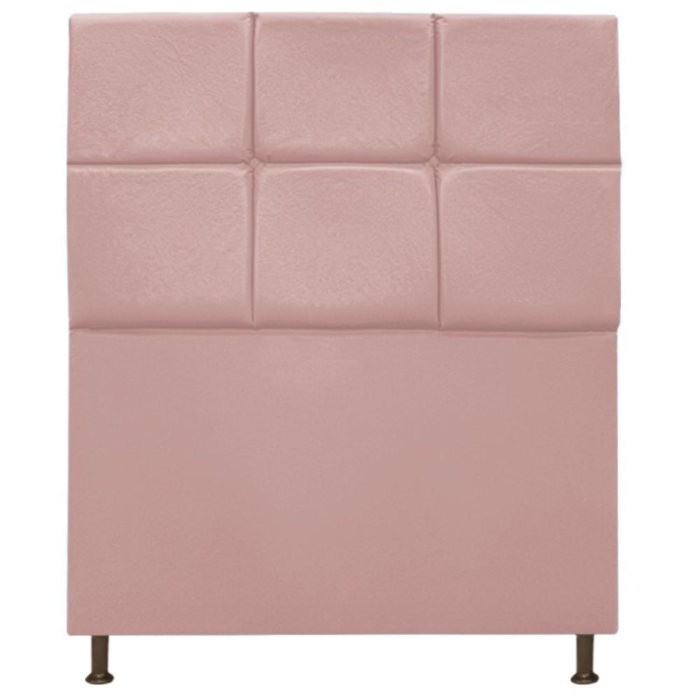 Cabeceira Estofada Damares 90 cm Solteiro Com Botonê  Suede Rosê - Doce Sonho Móveis