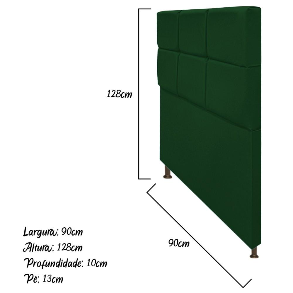 Cabeceira Estofada Damares 90 cm Solteiro Com Botonê  Suede Verde - Doce Sonho Móveis