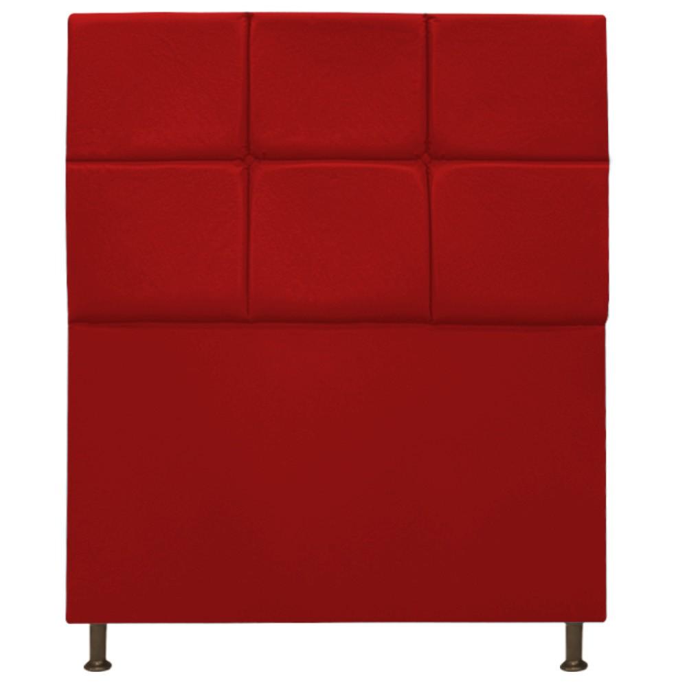 Cabeceira Estofada Damares 90 cm Solteiro Com Botonê  Suede Vermelho - Doce Sonho Móveis
