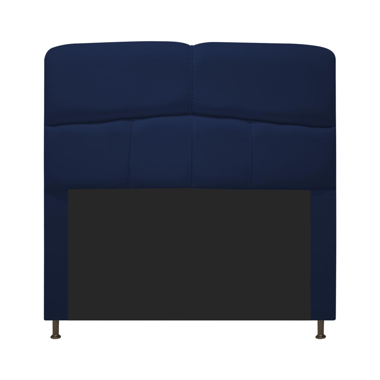 Cabeceira Estofada Donna 100 cm Solteiro Suede Azul Marinho - Doce Sonho Móveis