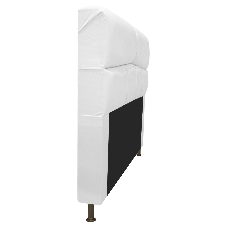 Cabeceira Estofada Donna 100 cm Solteiro Suede Branco - Doce Sonho Móveis